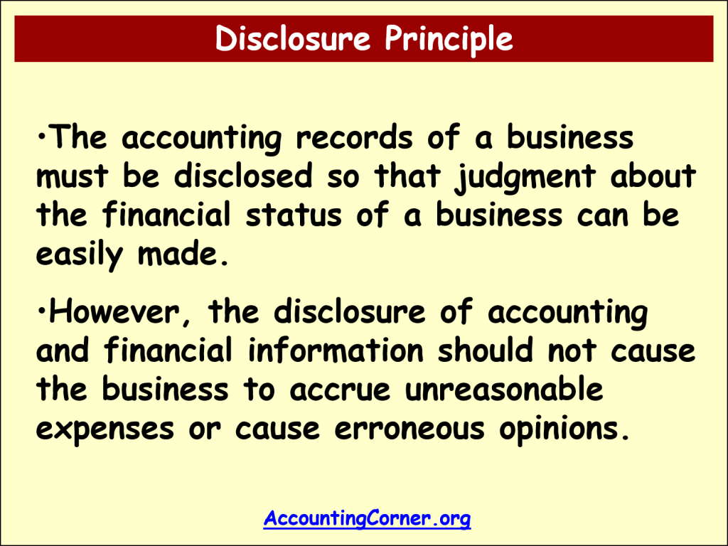 full disclosure principle For a business, the full disclosure principle requires a company to provide the  necessary information so that people who are accustomed to reading financial.